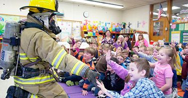 Firefighters In Classroom